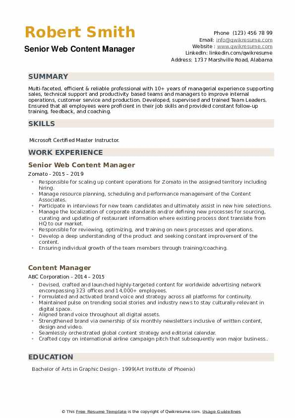 content manager resume samples qwikresume web pdf another word for manage on airs Resume Web Content Manager Resume