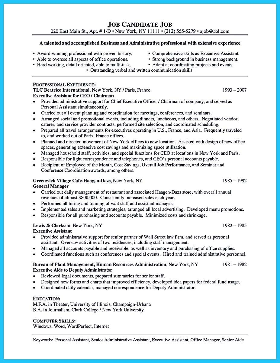 cool professional administrative resume sample to make you get the job assistant Resume Keywords For Executive Assistant Resume