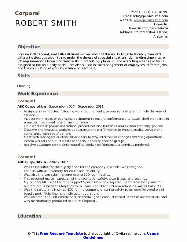 corporal resume samples qwikresume format for ex army pdf personable uat optimal business Resume Resume Format For Ex Army Person