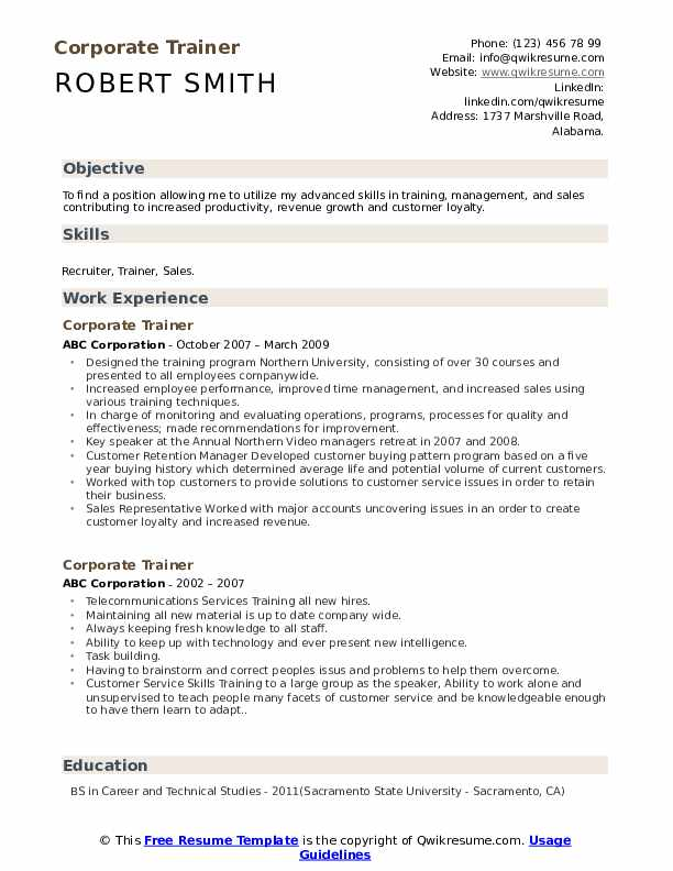 corporate trainer resume samples qwikresume skills for pdf call center qualifications Resume Trainer Skills For Resume