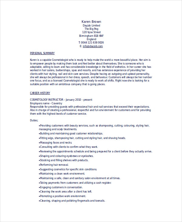 cosmetology resume templates pdf free premium student template sap crm technical sample Resume Cosmetology Student Resume Template