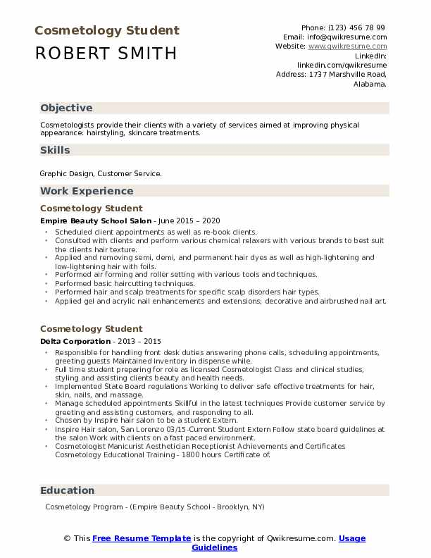 cosmetology student resume samples qwikresume template pdf welder examples film industry Resume Cosmetology Student Resume Template