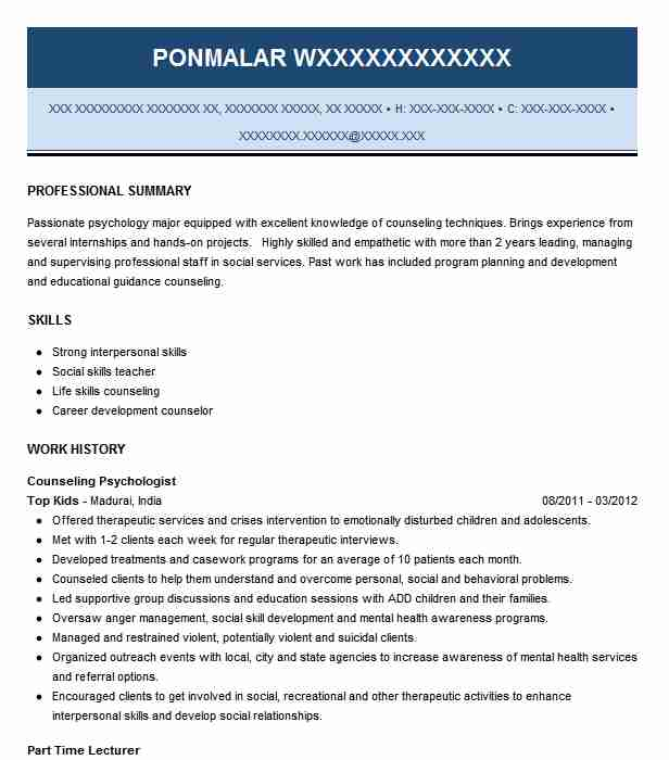counseling psychologist resume example livecareer psychology examples keywords for Resume Psychology Resume Examples
