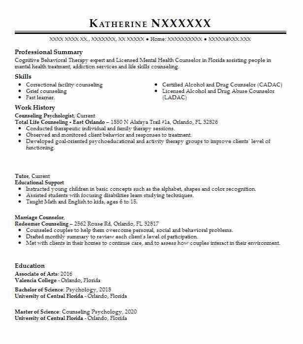 counseling psychologist resume example livecareer sample for psychology graduate examples Resume Sample Resume For Psychology Graduate