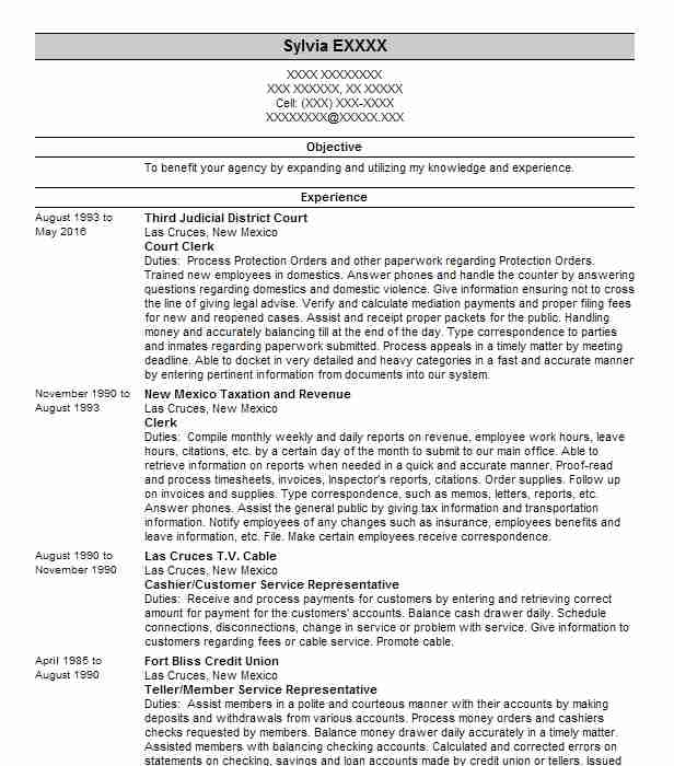 court clerk resume example administration resumes livecareer objective samples security Resume Court Clerk Resume Objective Samples