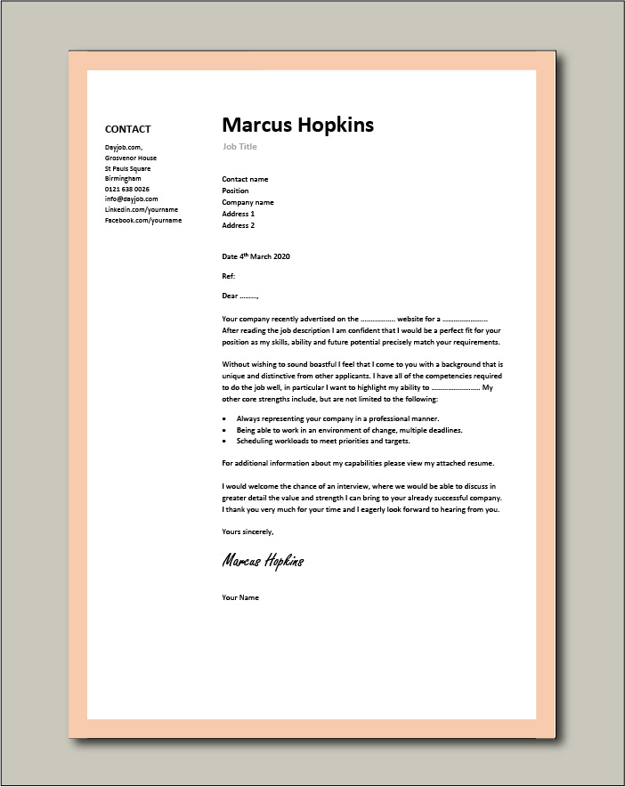 cover letter examples for different job roles in dayjob free resume example professional Resume Free Resume Cover Letter Examples 2020