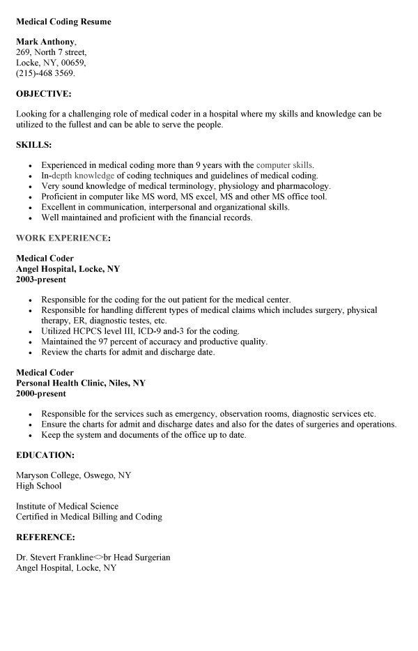 cpc experience cover letter resume for medical coding specialist good objective statement Resume Resume For Medical Coding Specialist