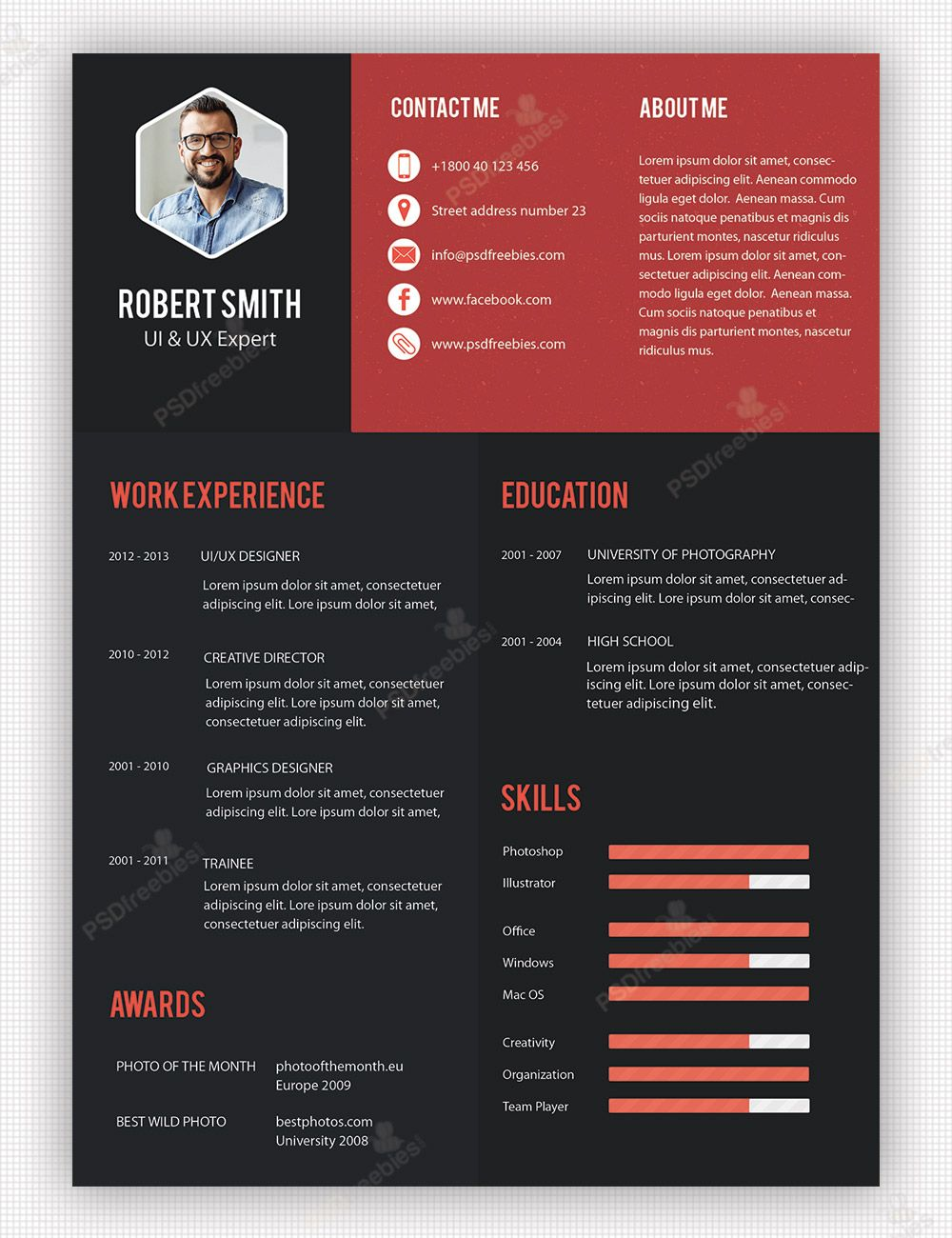 creative professional resume template free psdfreebies unique and templates super sample Resume Professional And Creative Resume Templates