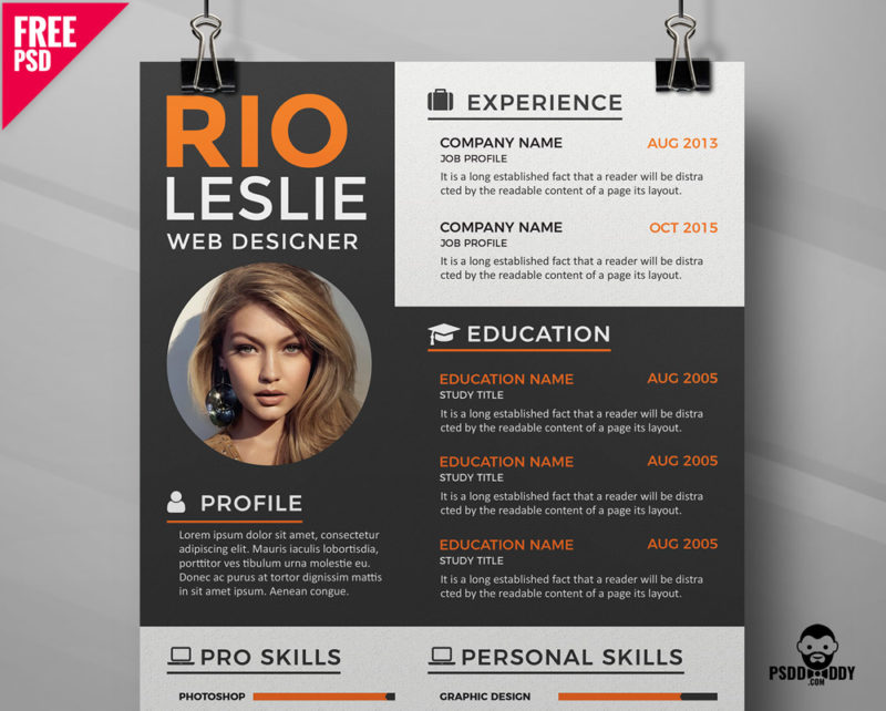 creative resume cv template psddaddy for graphic designer free cover 800x642 skills Resume Resume For Graphic Designer Free Download