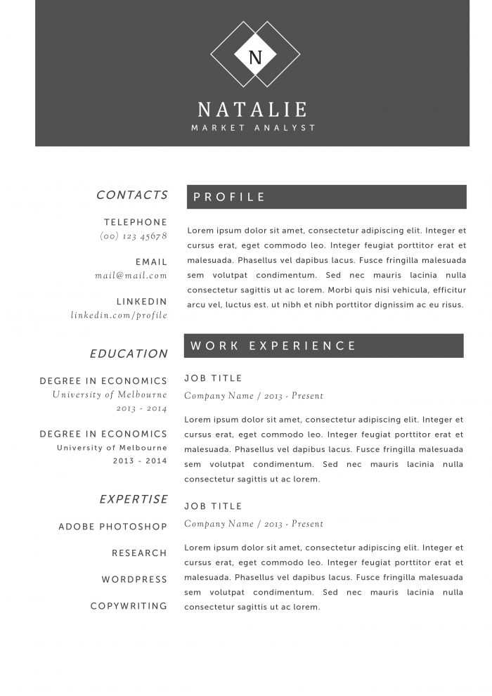 creative resume templates for word you ll them kukook professional and natalie 700x990 Resume Professional And Creative Resume Templates