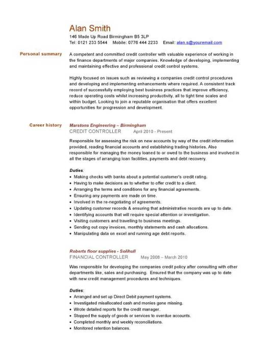 credit controller cv sample managing information or general administration support resume Resume Controller Resume Template Word