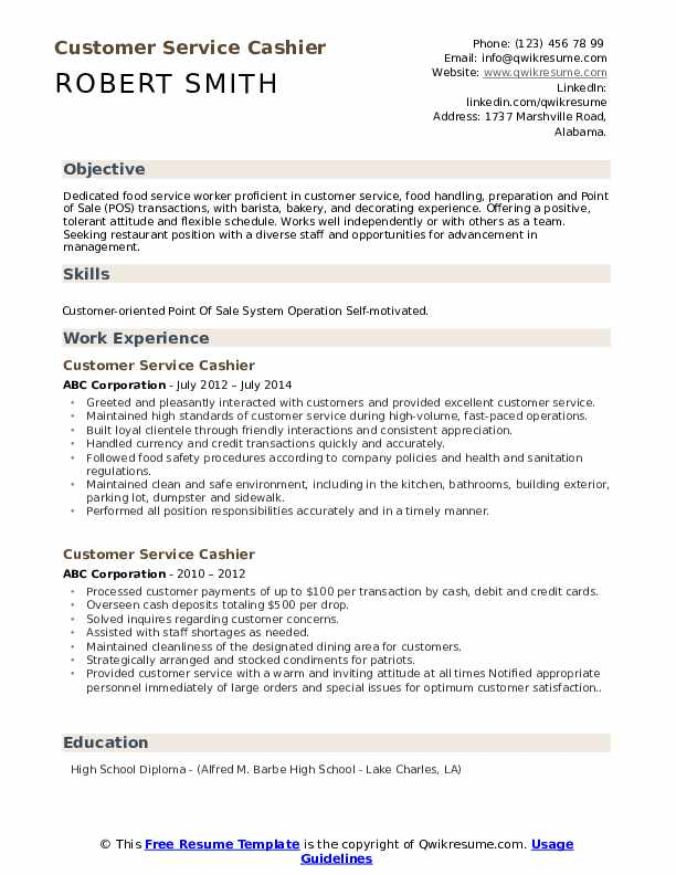 customer service cashier resume samples qwikresume high school pdf paid builder Resume High School Cashier Resume