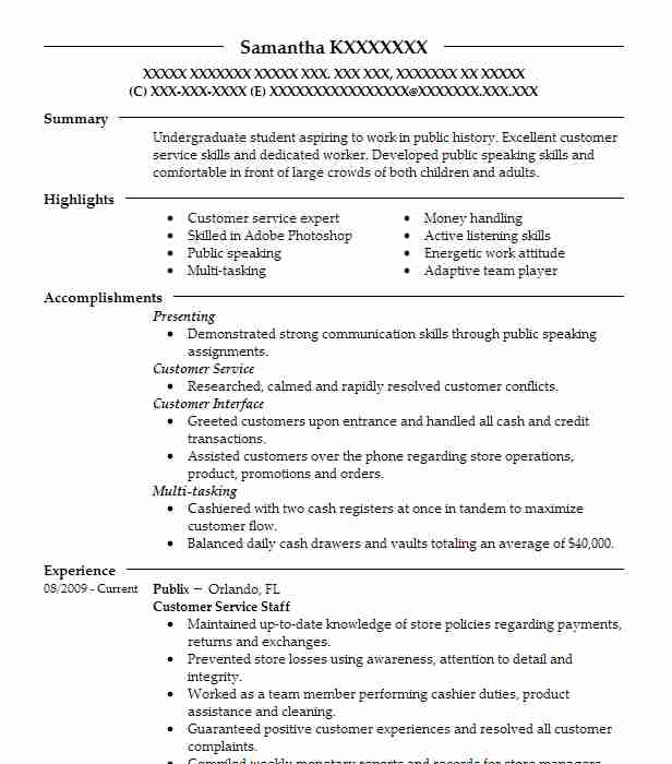 customer service staff resume example publix ghc database tibco spotfire developer Resume Publix Customer Service Resume