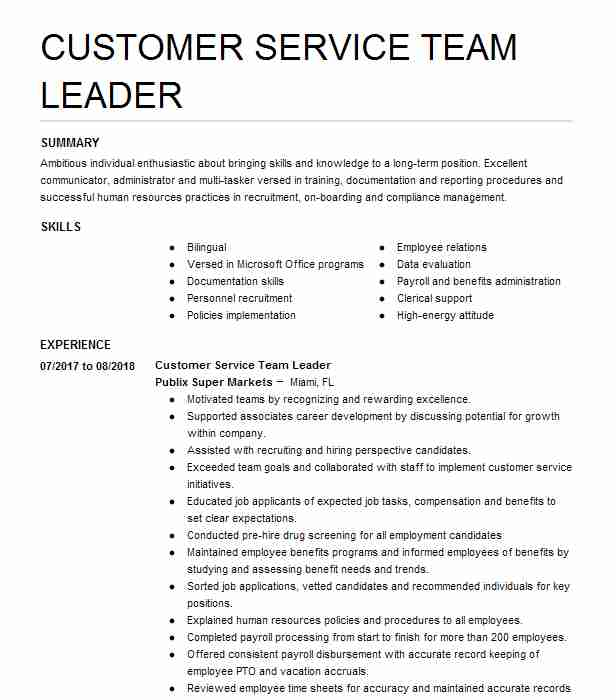 customer service team leader resume example publix supermarket saint james city summary Resume Publix Customer Service Resume