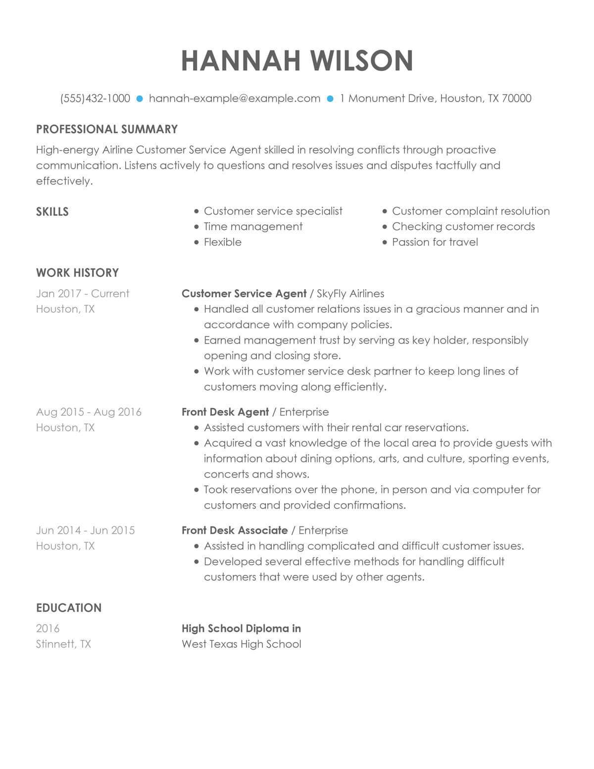 customize our customer representative resume example support airline service agent sample Resume Customer Support Resume