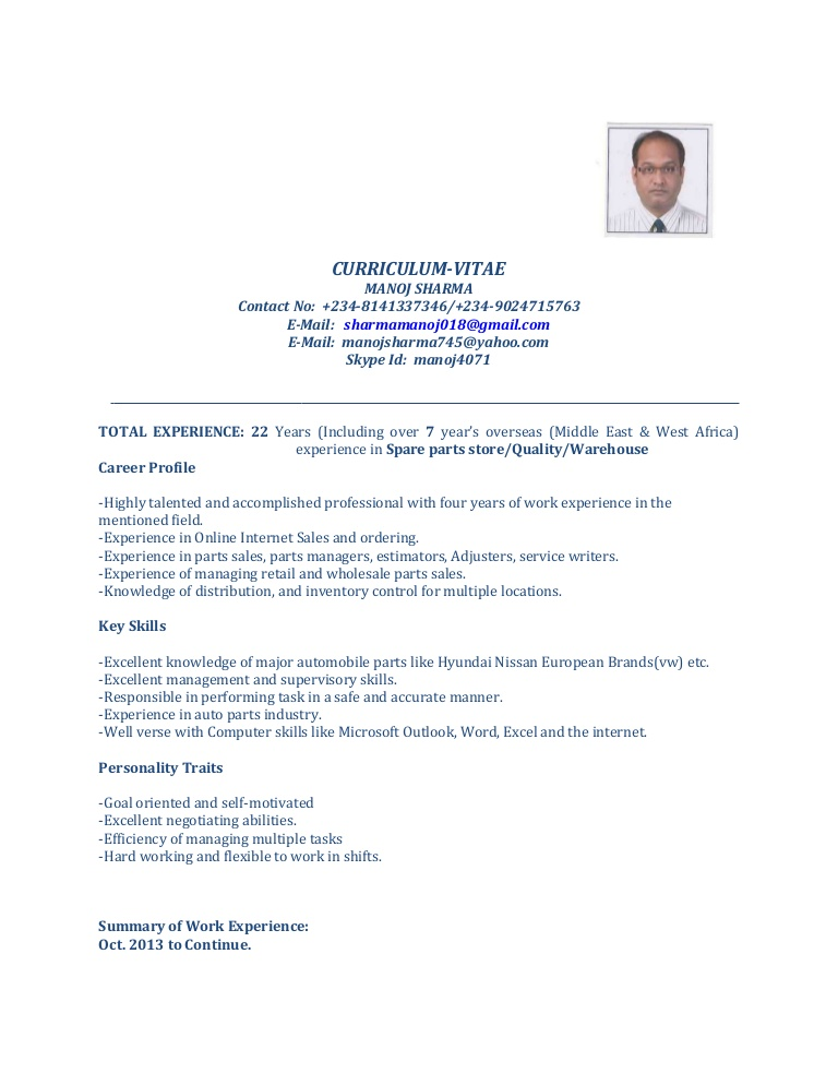 cv for spare parts manager of professional resume manojcurrent thumbnail boosters Resume Parts Of A Professional Resume