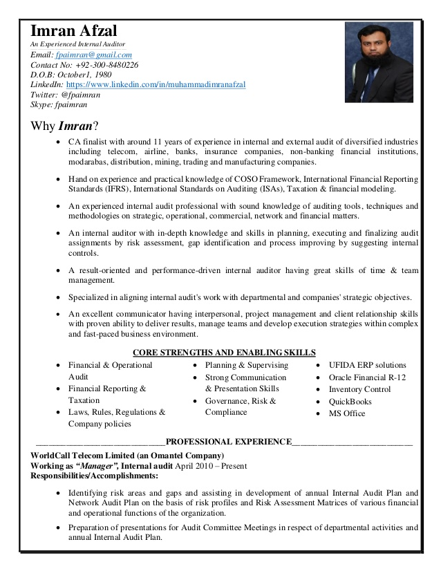 cv imran afzal manager internal audit director of resume volunteer work on example with Resume Director Of Internal Audit Resume