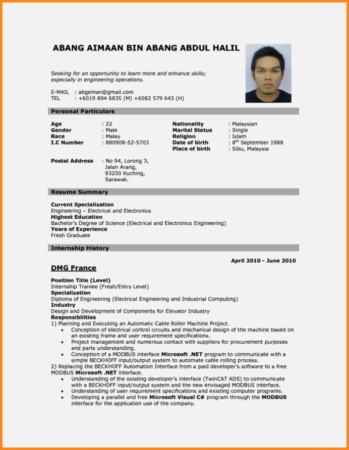 cv resume sample template cover letter job downloadable malaysian best professional Resume Malaysian Resume Sample