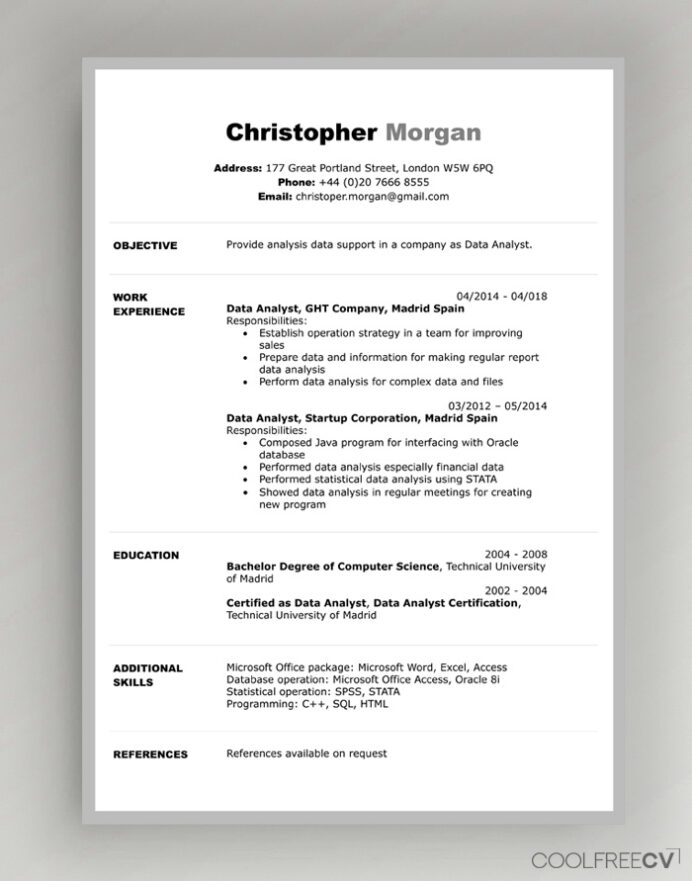 cv resume templates examples word standard template financial management objective Resume Standard Resume Template Word