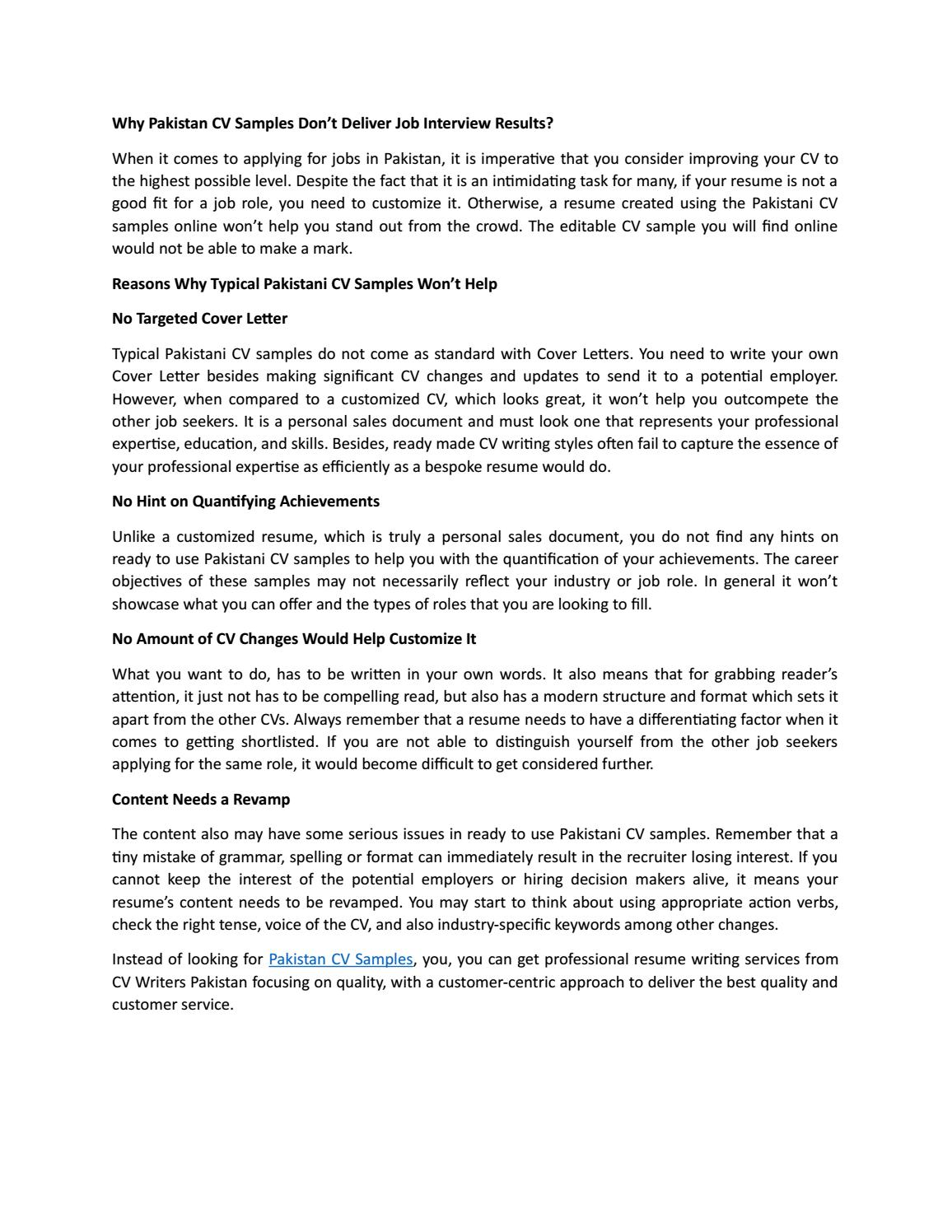 cv samples don deliver job interview results by cvwriterspakistan issuu without resume Resume Job Interview Without Resume