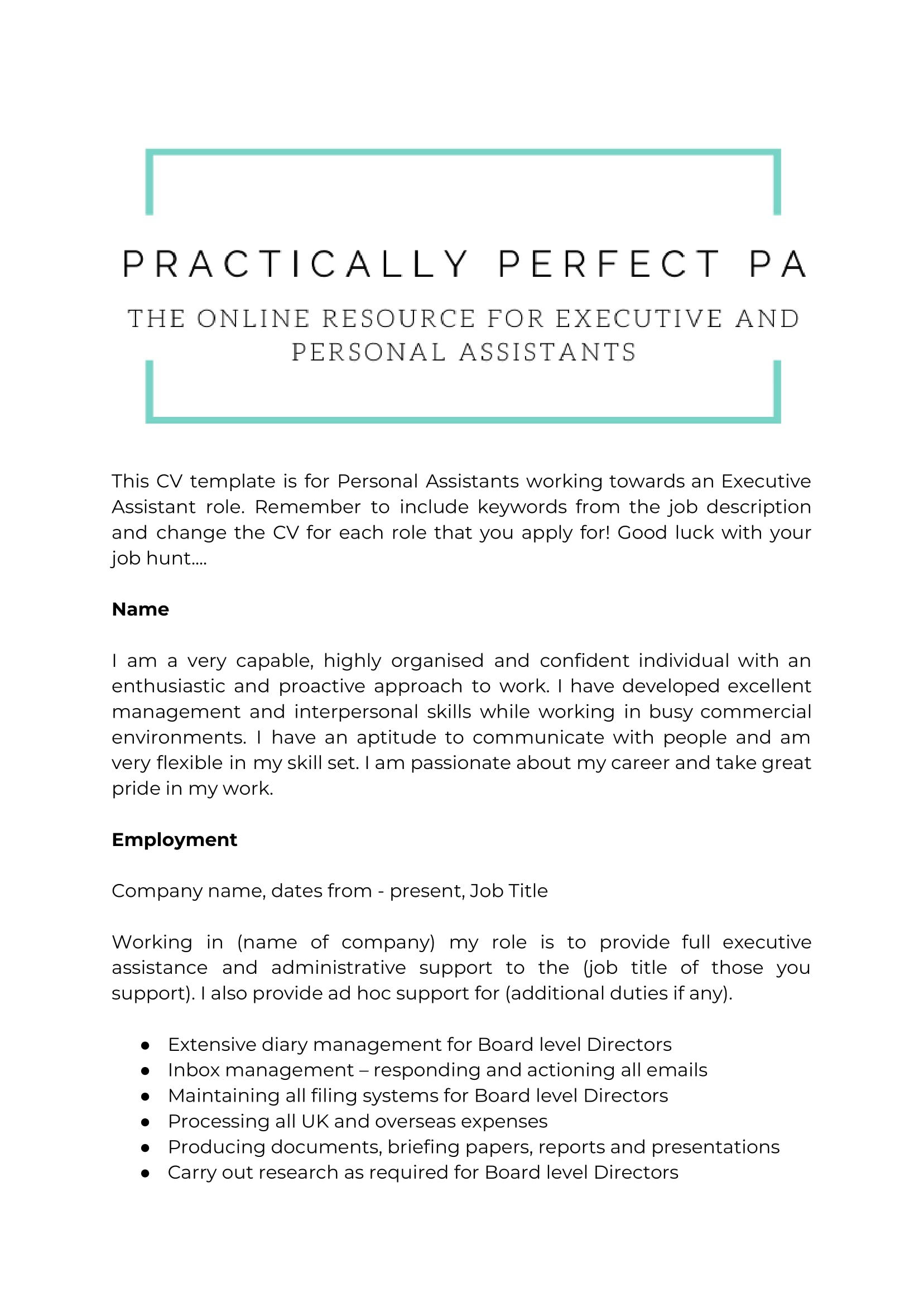 cv template for executive and personal assistants assistant job duties resume scanner Resume Personal Assistant Job Duties For Resume