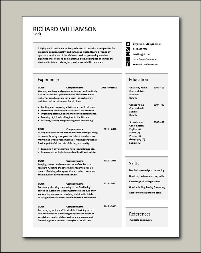 cv template job description chef jobs example resume cooking cvs hands on experience free Resume Resume Hands On Experience