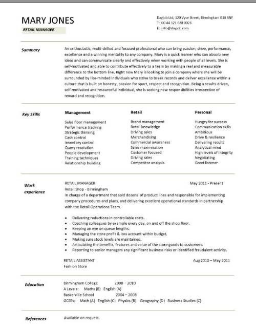 cv template south africa retail resume examples assistant sample kids living bachelor Resume Retail Assistant Resume Sample