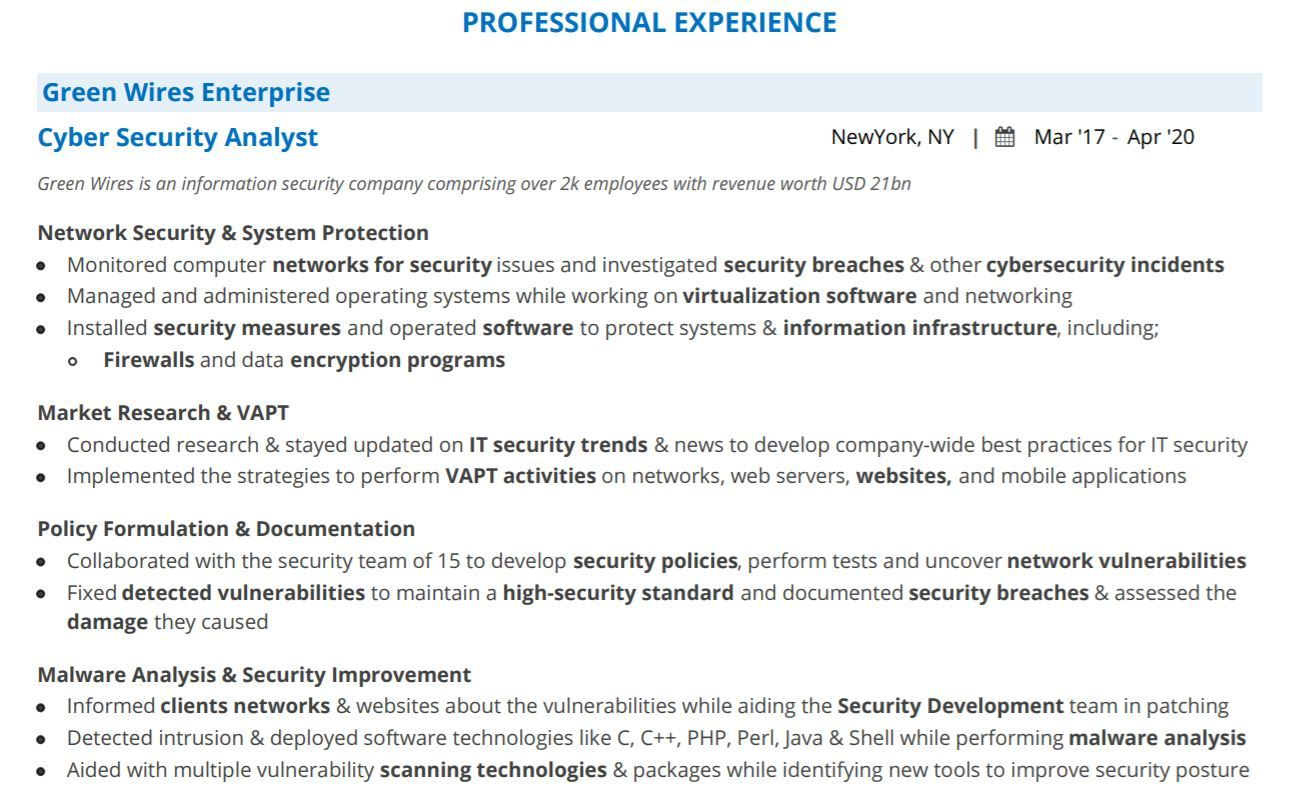 cyber security analyst resume guide with examples professional experience opening Resume Security Analyst Resume