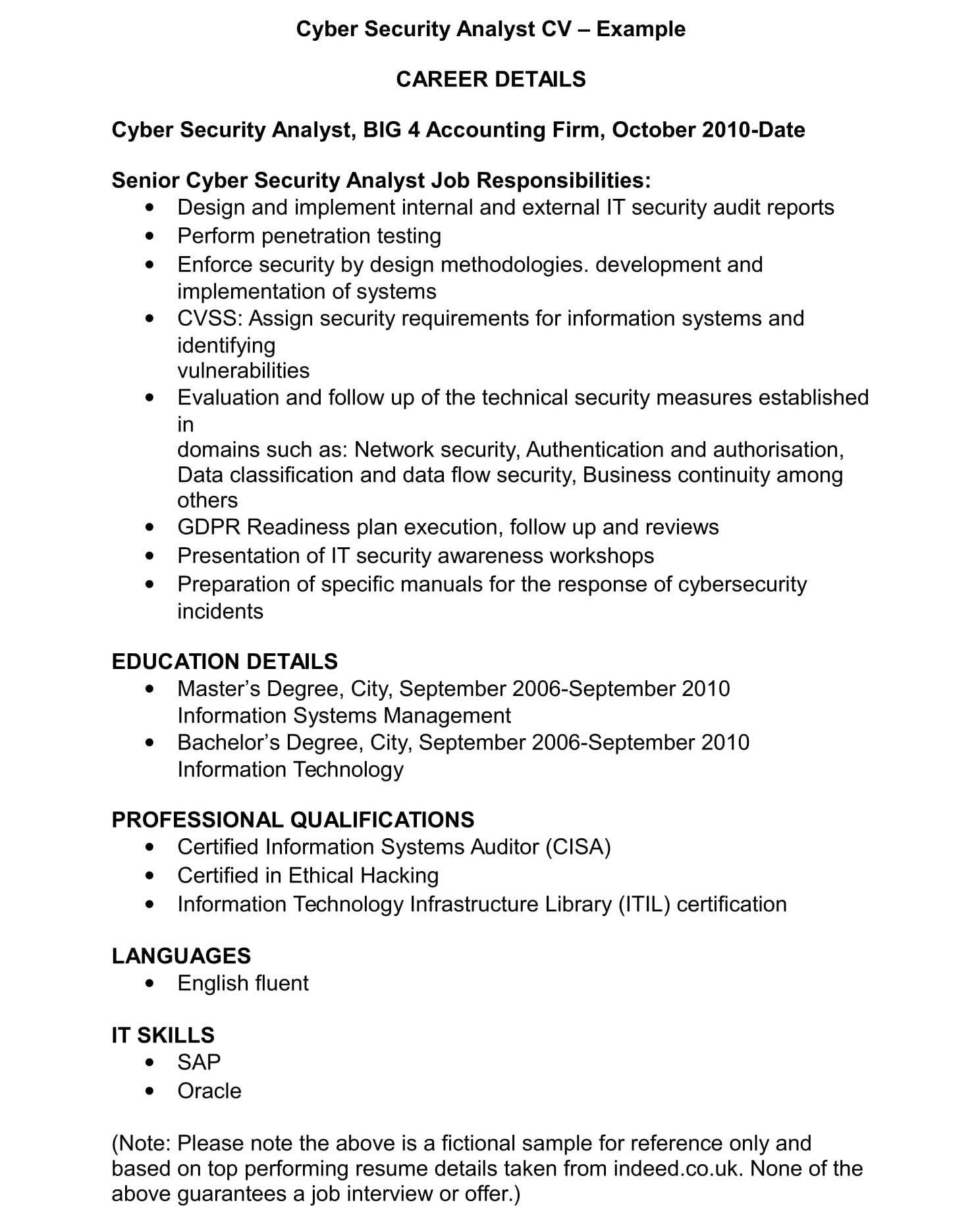 cyber security cv template and examples renaix resume sample analyst example scaffold Resume Cyber Security Resume Sample