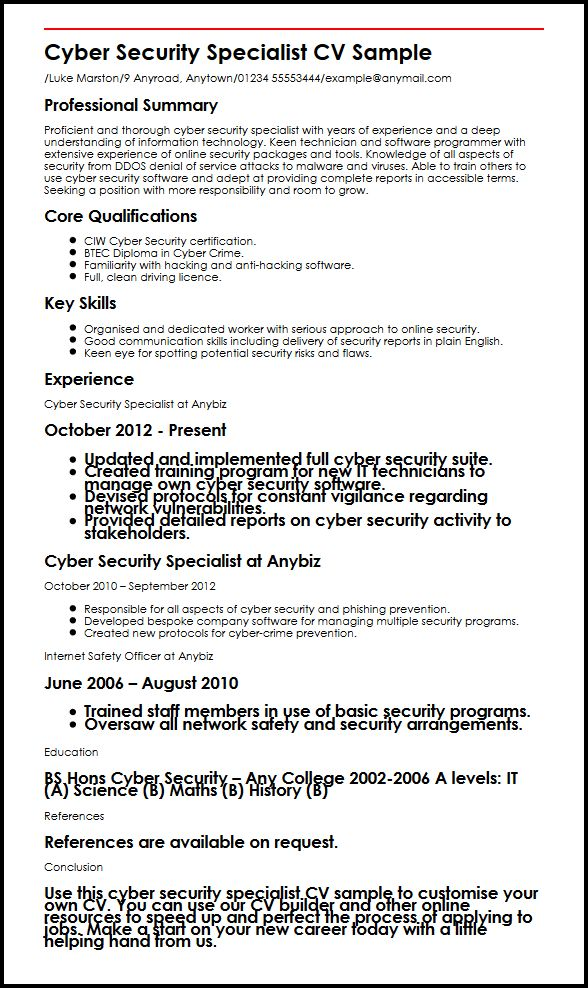 cyber security specialist cv example myperfectcv resume sample shop manager panel board Resume Cyber Security Resume Sample