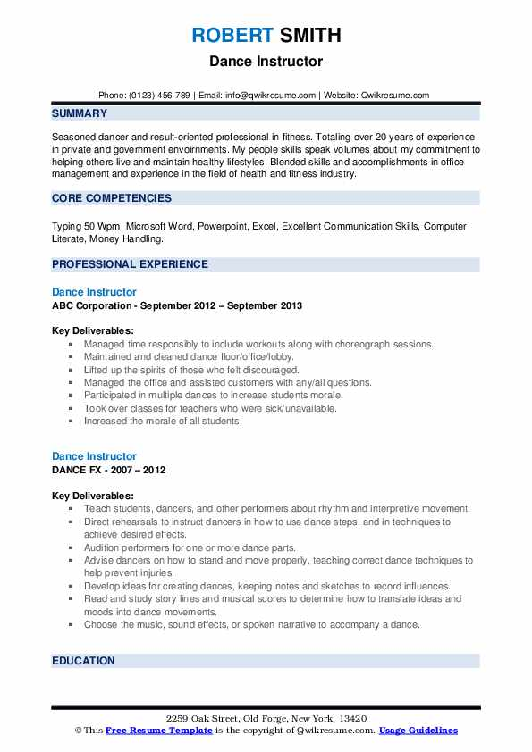 dance instructor resume samples qwikresume choreographer pdf self summary for sample Resume Dance Choreographer Resume