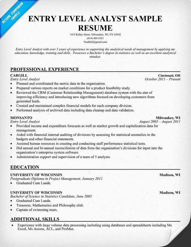 data analyst resume entry level unique to write for business position job samples Resume Analyst Resume Examples