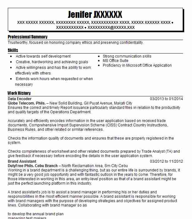 data encoder resume example philippine consulate general ny northvale new sample for job Resume Sample Resume For Encoder Job