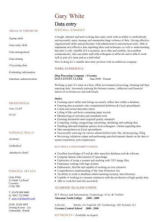 data entry cv sample accurate experience of working in busy office resume for encoder job Resume Sample Resume For Encoder Job