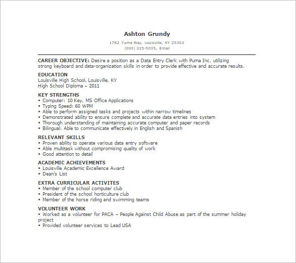 data entry resume template free word excel pdf format premium templates for encoder no Resume Resume For Data Encoder