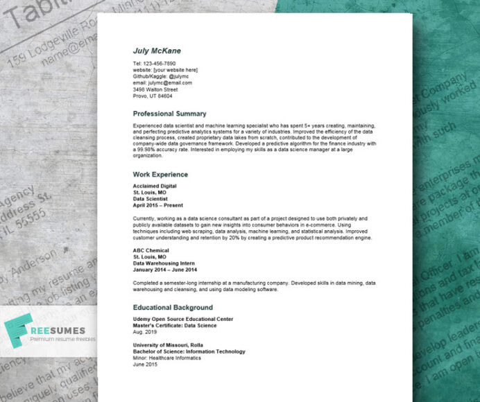 data science resume example land the sexiest job in 21st century freesumes github for Resume Data Science Resume Github