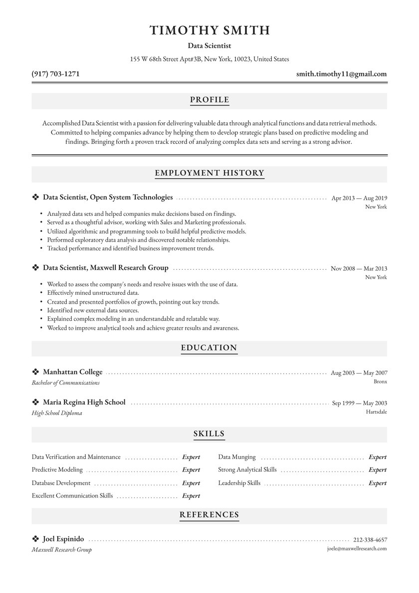 data scientist resume examples writing tips free guide io modeling example golf Resume Modeling Resume Example