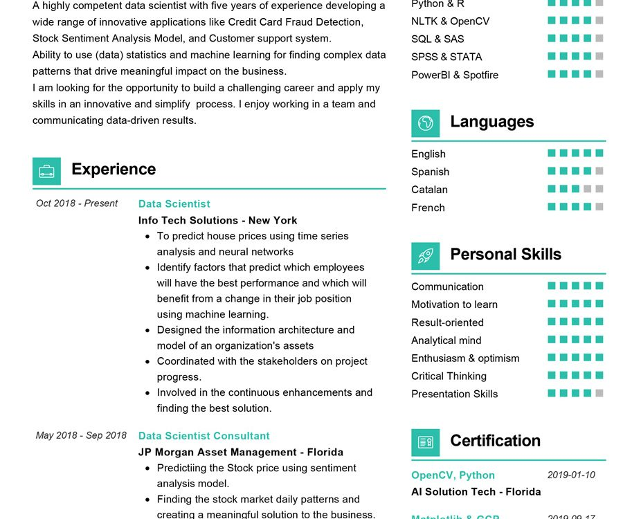 data scientist resume sample cv resumekraft summary example 913x750 generic examples some Resume Data Scientist Resume Summary Example