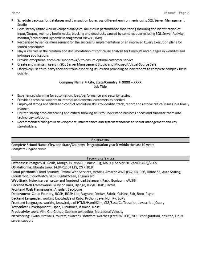 database administrator resume example tips conflict resolution create google docs Resume Resume Conflict Resolution
