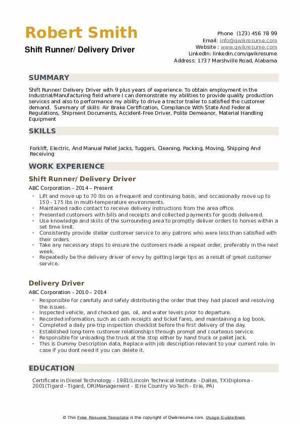 delivery driver resume samples qwikresume skills of pdf template microsoft word strength Resume Skills Of A Driver Resume