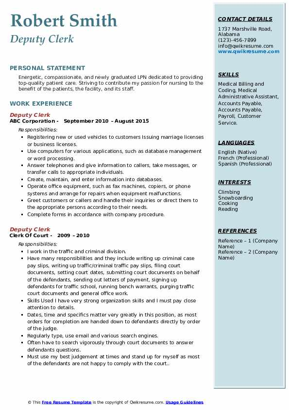 deputy clerk resume samples qwikresume court objective pdf music template research Resume Court Clerk Resume Objective Samples