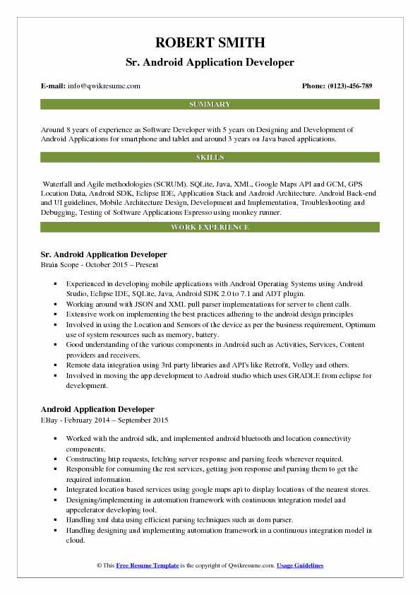 developer resume samples examples and tips headline for your profile android application Resume Headline For Your Resume Profile