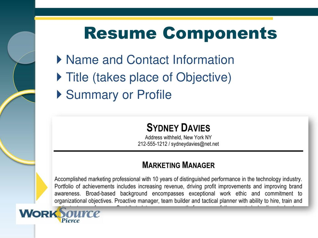 developing effective applications resumes worksource resume builder components name and Resume Worksource Resume Builder