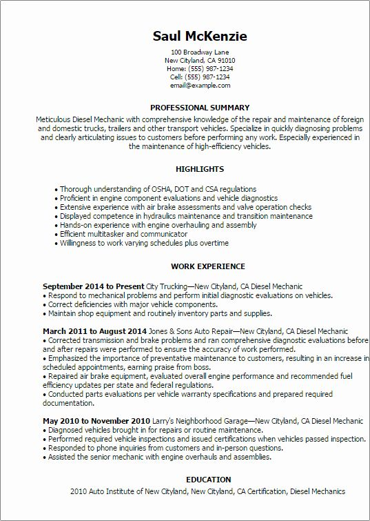 diesel mechanic resume examples unique template best design tips mechanics professional Resume Diesel Mechanic Resume Sample