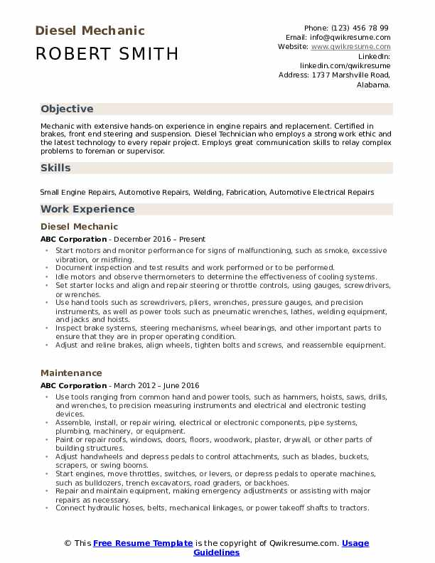 diesel mechanic resume samples qwikresume hands on experience pdf air traffic controller Resume Resume Hands On Experience