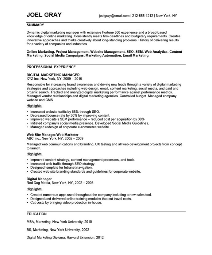 digital marketing manager free resume samples blue sky resumes project joel before Resume Digital Marketing Project Manager Resume