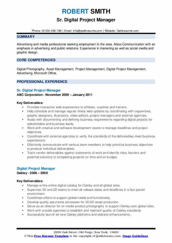 digital project manager resume samples qwikresume marketing pdf business intelligence Resume Digital Marketing Project Manager Resume