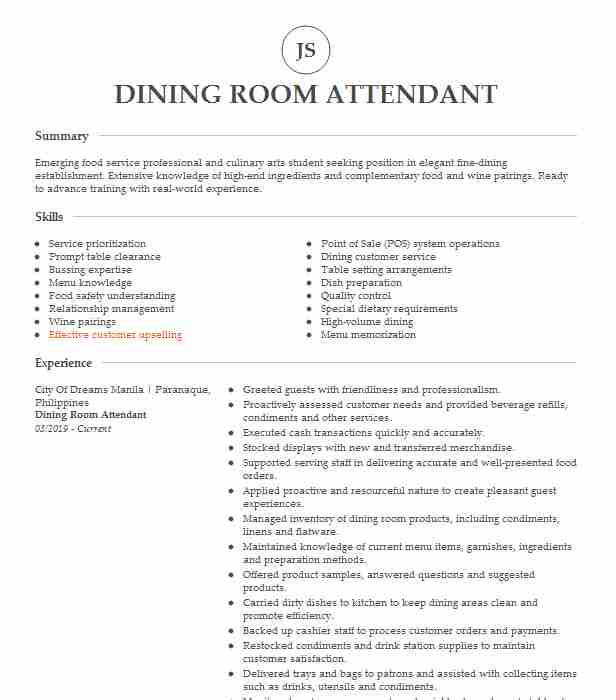 dining room attendant resume example resumes livecareer food service wording for hiring Resume Food Service Attendant Resume