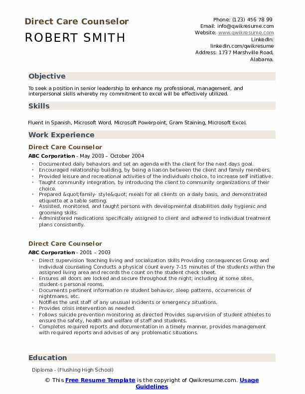 direct care counselor resume samples qwikresume objective pdf winway deluxe for mac with Resume Direct Care Resume Objective