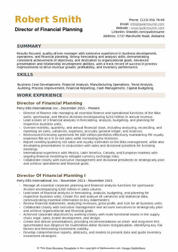 director of financial planning resume samples qwikresume and analysis summary pdf advisor Resume Financial Planning And Analysis Resume Summary